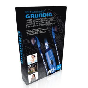 oortelefoon met microfoon led blauw Grundig